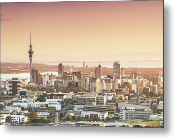 Elevated View Of Auckland City And Cbd Metal Print by Matteo Colombo