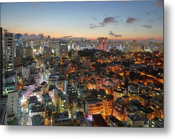 Elevated View Of Gangnam Illuminated At Metal Print by Allan Baxter