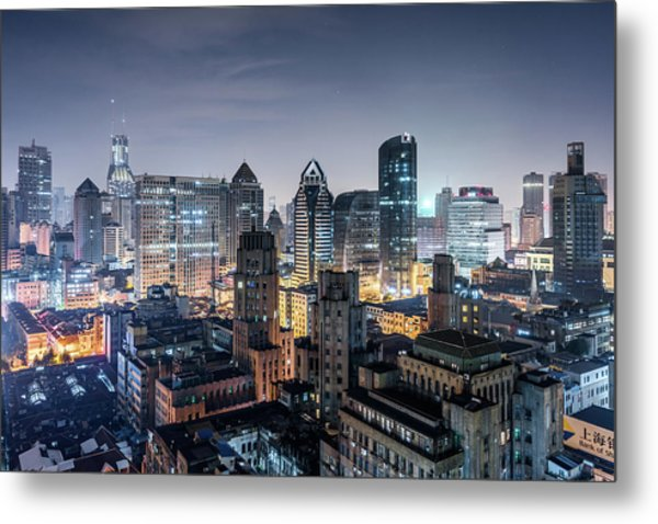 Elevated View Of Shanghai Skyline At Metal Print by Yongyuan Dai