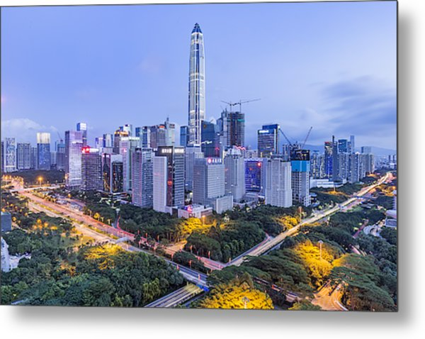 Elevated View Of Shenzhen Skyline Metal Print by Liao Xun