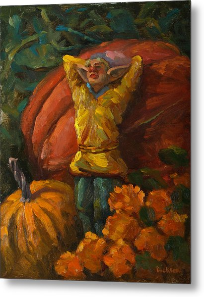 Elf In The Pumpkin Patch Metal Print