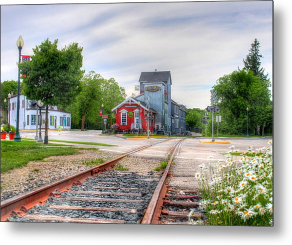 Elkhart Lake Off The Rail And Feed Mill Market Metal Print
