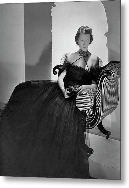 Ellen Astor Wearing A Tulle Dress Metal Print by Horst P. Horst