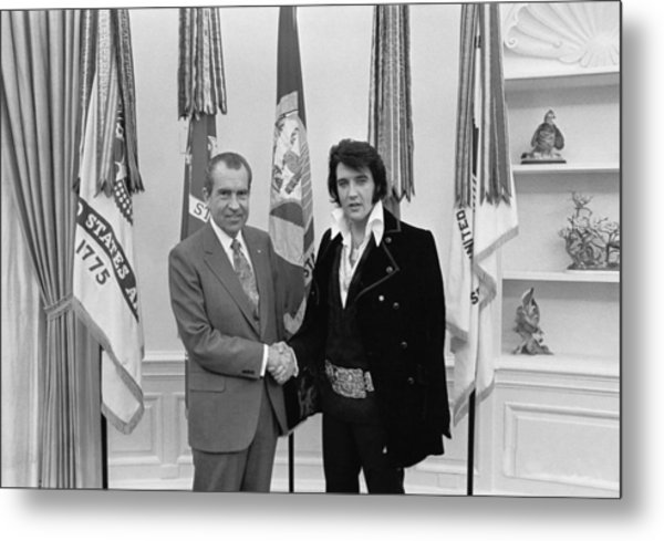 Elvis Presley And Richard Nixon-featured In Men At Work Group Metal Print
