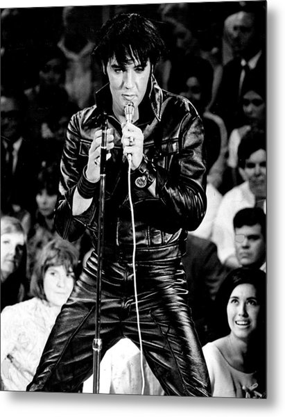 Elvis Presley In Leather Suit Metal Print