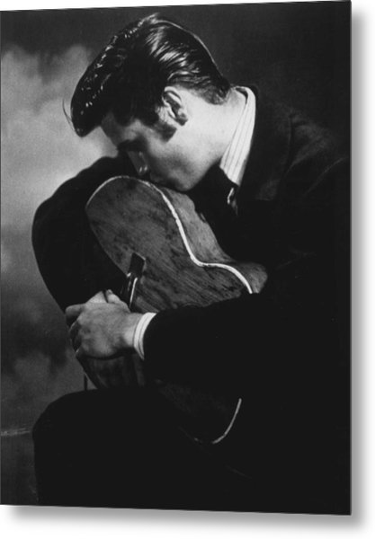 Elvis Presley Kisses Guitar Metal Print