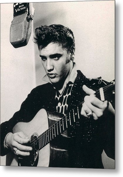 Elvis Presley Plays And Sings Into Old Microphone Metal Print