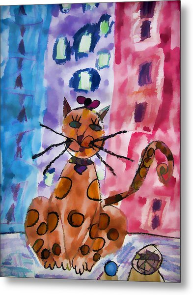 Emma's Spotted Kitty Metal Print