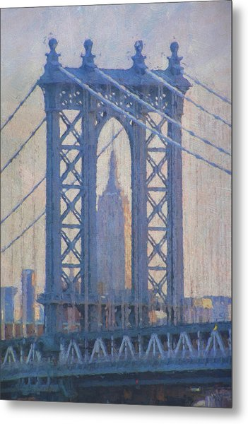 Empire State Building Through The Manhattan Bridge Metal Print