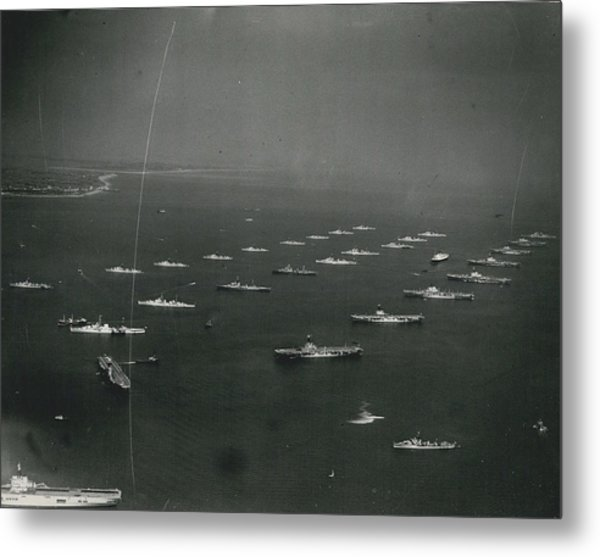 Empire�s Warships Line Up For The Coronation Review At Metal Print by Retro Images Archive