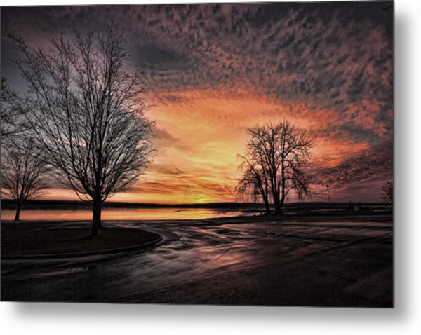 Empty Lot Sunset Metal Print