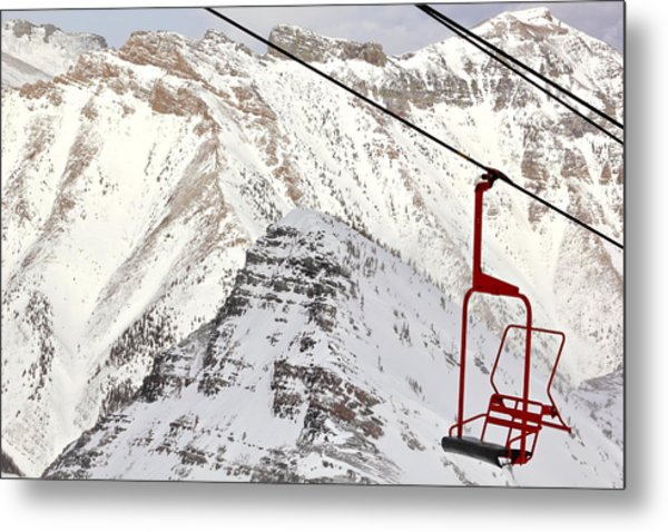 Empty Red Chair Metal Print