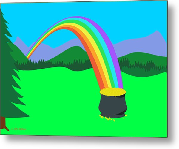 End Of Rainbow Pot Of Gold Metal Print