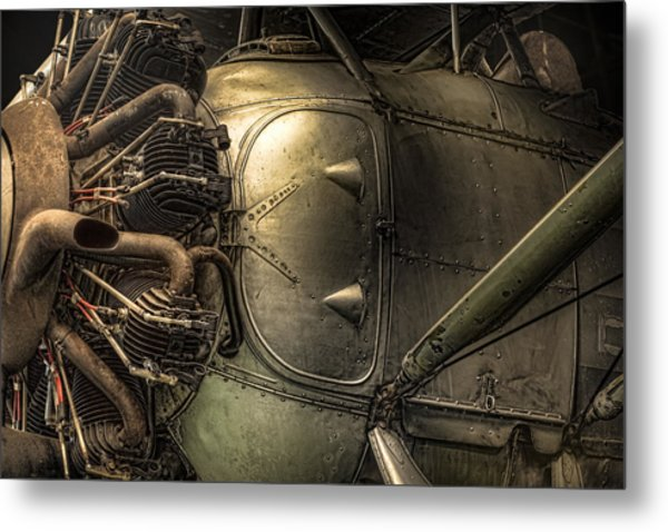 Metal Print featuring the photograph Radial Engine And Fuselage Detail - Radial Engine Aluminum Fuselage Vintage Aircraft by Gary Heller