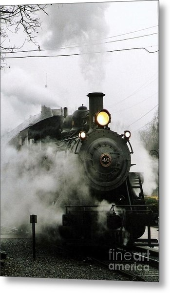 Engine Number 40 Making Steam Pulling Into New Hope Passenger Train Terminal Metal Print