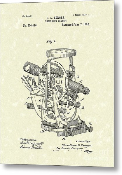 Engineer's Transit 1892 Patent Art Metal Print