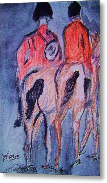 English Equestrain Horse Riders Metal Print by Peggy Leyva Conley
