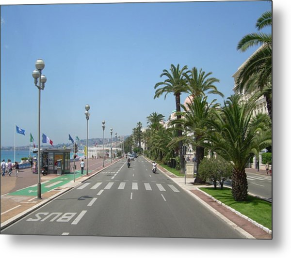 English Promenade At Nice Metal Print by Tommy Budd