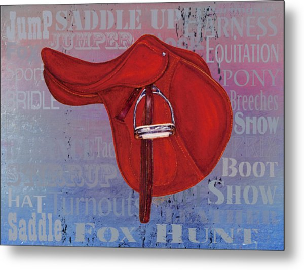 English Saddle - Blue Tones Metal Print