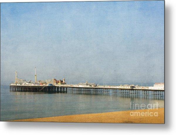 English Victorian Seaside Pier - Textured Metal Print