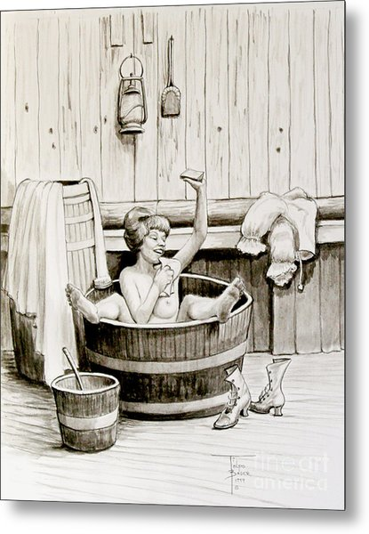 Bawdy Lady Bath - 1890's Metal Print