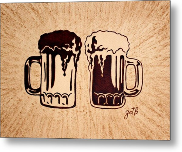 Enjoying Beer Metal Print