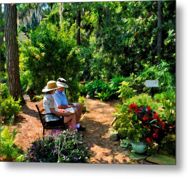 Loving Couple Enjoying Their Prayer Garden Metal Print