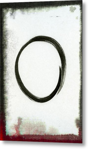 Enso #2 - Zen Circle Abstract Black And Red Metal Print