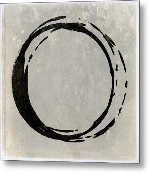 Enso No. 107 Black On Taupe Metal Print