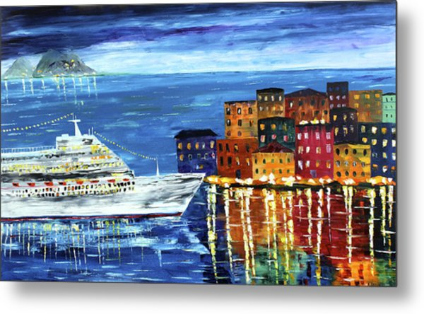 Metal Print featuring the painting Entering Port by Kevin  Brown