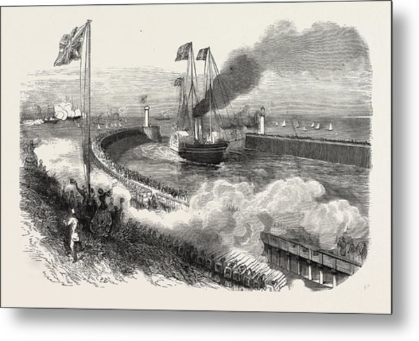 Entrance Of The Queen Of England In The Port Of Boulogne Metal Print