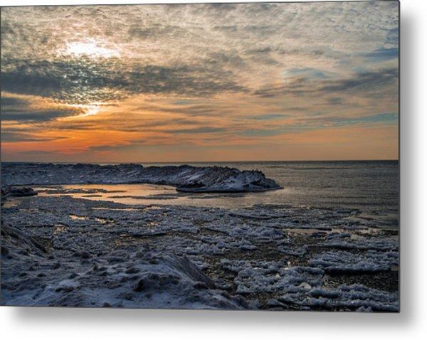 Erie Ice Dunes Metal Print