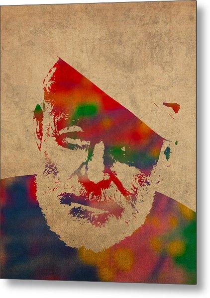Ernest Hemingway Watercolor Portrait On Worn Distressed Canvas Metal Print
