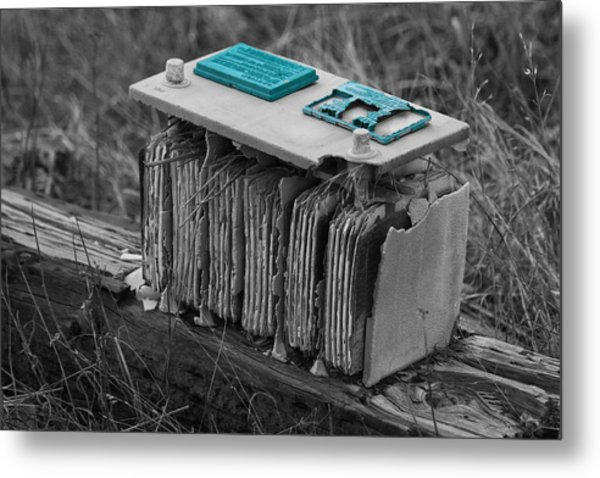 Eroding Battery Metal Print