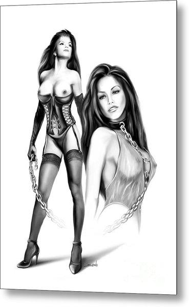 Erotic Lesbian Pet By Spano Metal Print