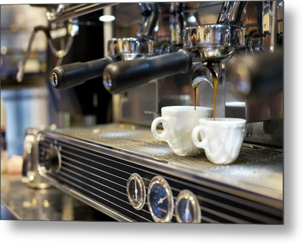 Espresso Machine Pouring Coffee Into Metal Print by Kathrin Ziegler