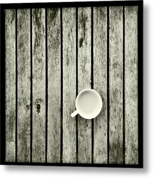 Espresso On A Wooden Table Metal Print