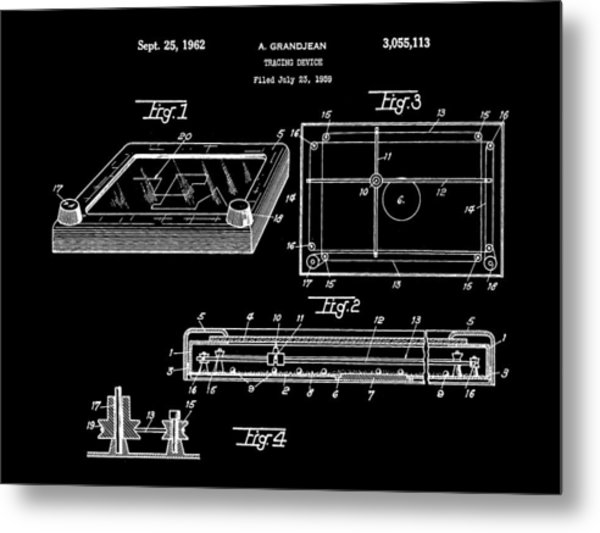 Etch A Sketch Patent 1959 - Black Metal Print