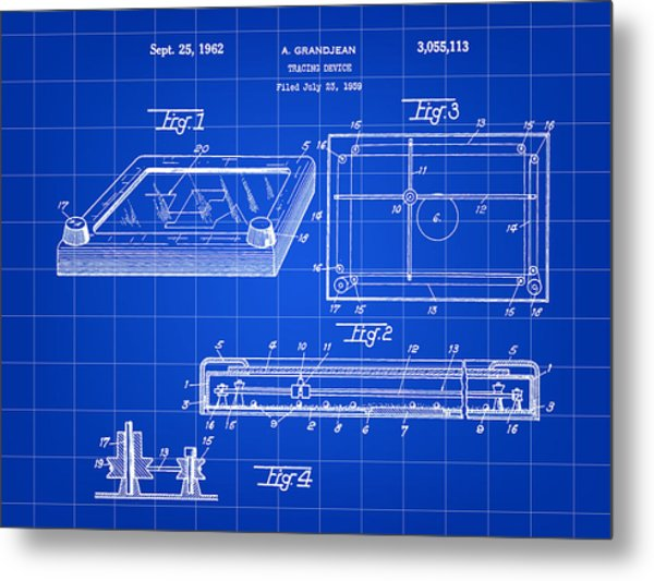 Etch A Sketch Patent 1959 - Blue Metal Print