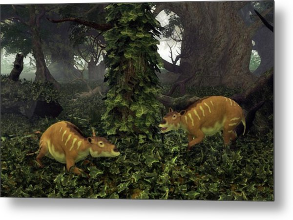 Eurohippus Prehistoric Mammals Metal Print by Walter Myers