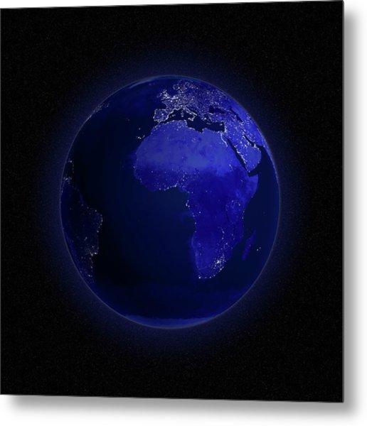 Europe And Africa At Night, Artwork Metal Print by Andrzej Wojcicki