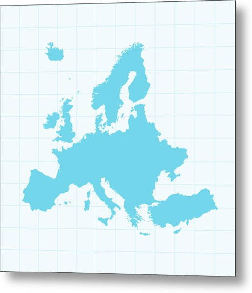 Europe Map On Grid On Blue Background Metal Print by Iconeer