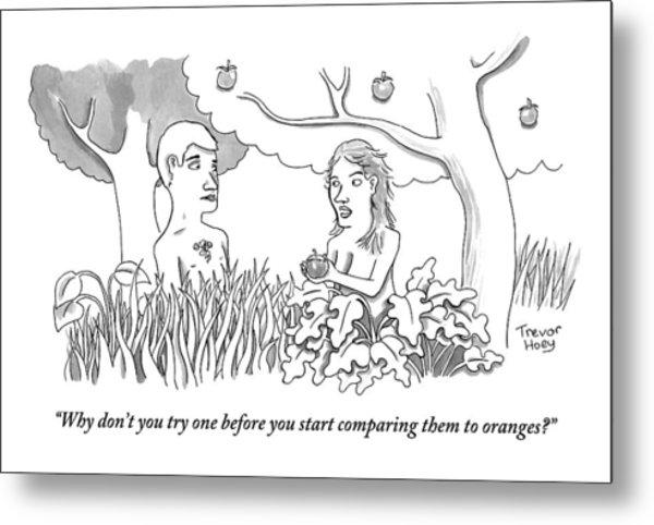Eve Hands An Apple To Adam In The Garden Of Eden Metal Print