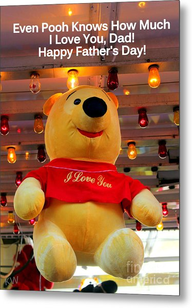 Even Pooh Knows Card Metal Print
