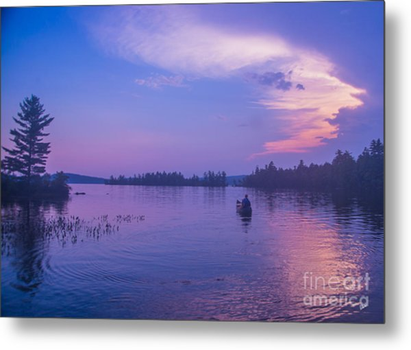 Evening Canoeing  Metal Print