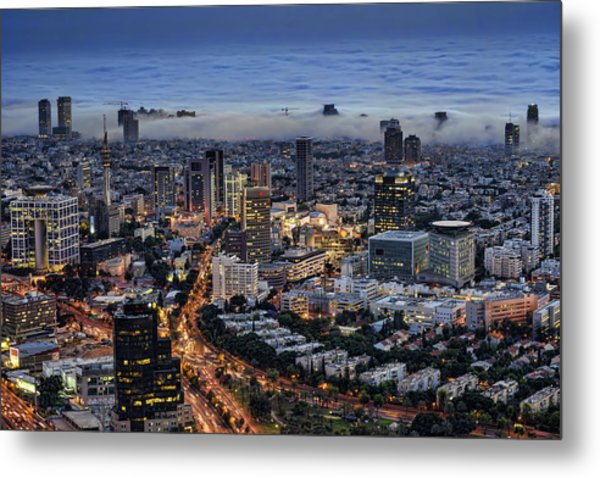 Metal Print featuring the photograph Evening City Lights by Ron Shoshani