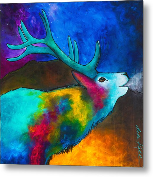 Evening Elk Metal Print