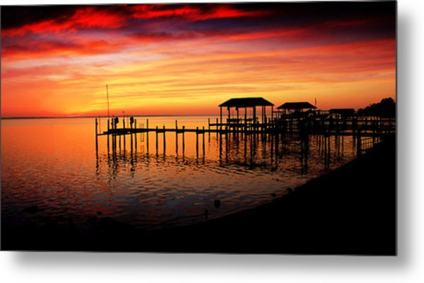 Evening Enchantment At The Hilton Pier Metal Print