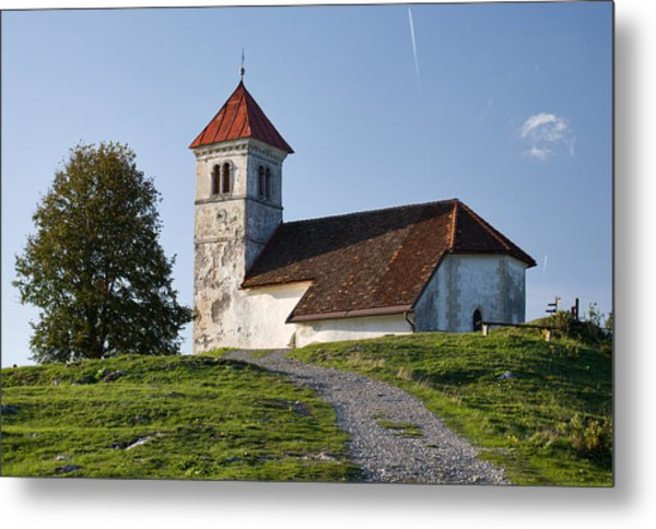 Evening Glow Over Church Metal Print