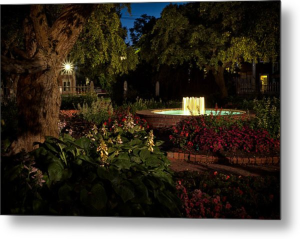 Metal Print featuring the photograph Evening In The Garden Prescott Park Gardens At Night by Jeff Sinon
